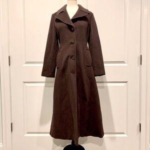 Tahari Long Brown Wool Trench Coat Size 6